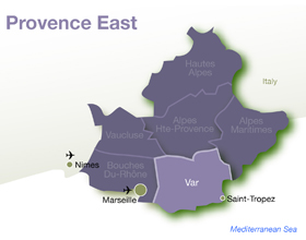 Map of Provence East